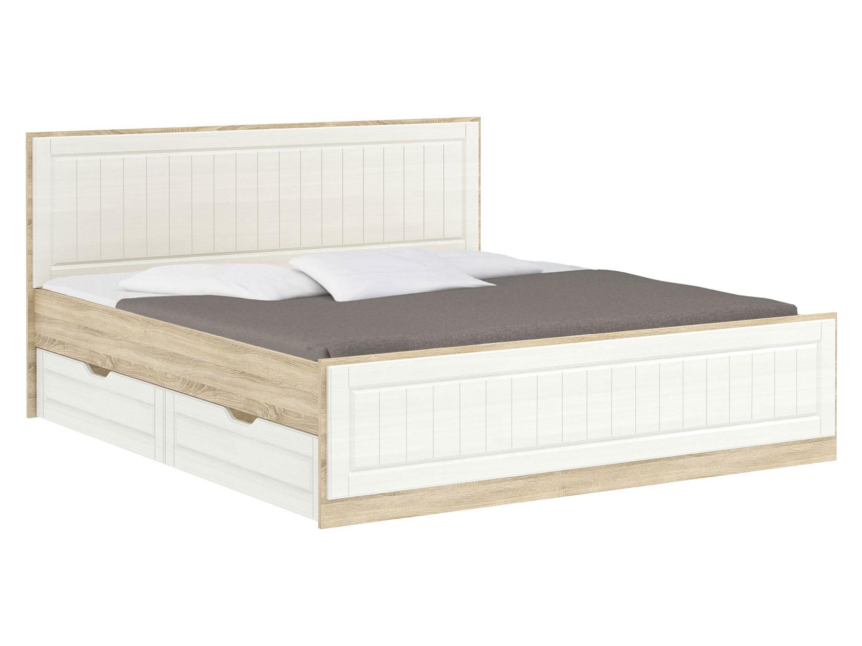 Двуспальная кровать  Оливия Лайт НМ 040.34 Дуб сонома / Белое дерево, 180х200 см, С ящиками Сильва 126547