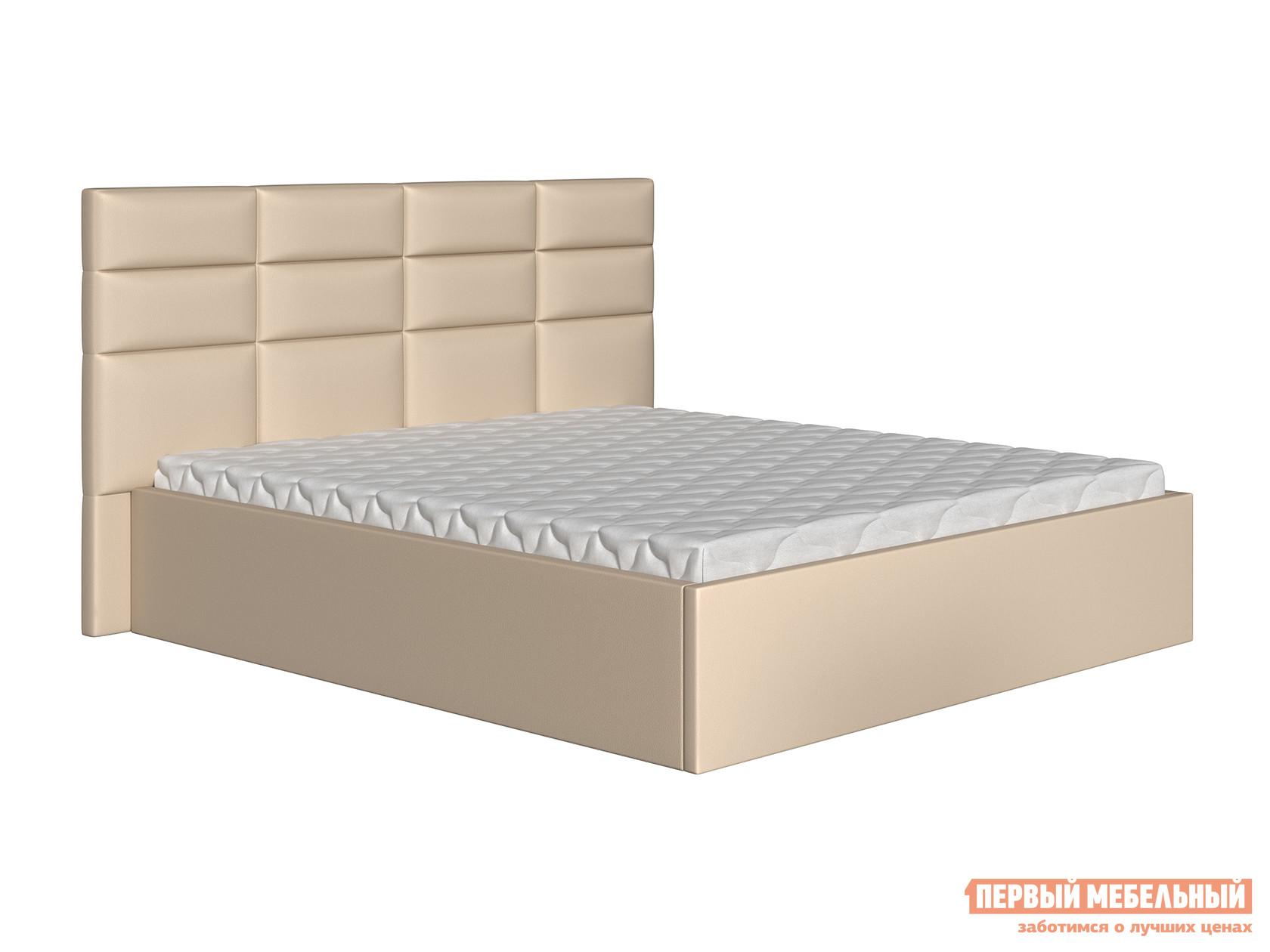 Двуспальная кровать  Кровать Коста Бежевый, экокожа, 160х200 см