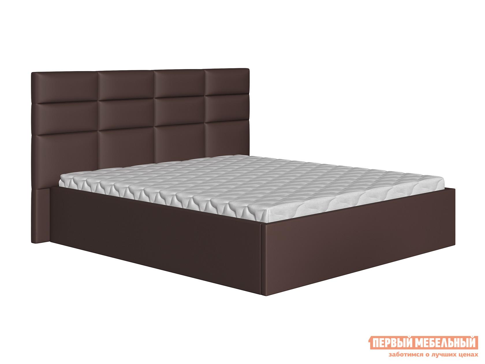Двуспальная кровать  Кровать Коста Коричневый, экокожа, 160х200