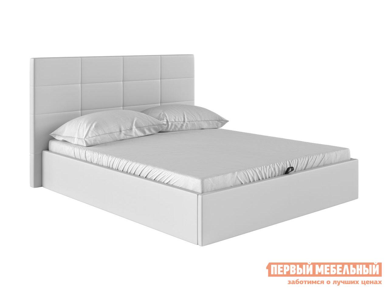 Двуспальная кровать  Коста Белый, экокожа , 140х200 см Первый Мебельный 82784