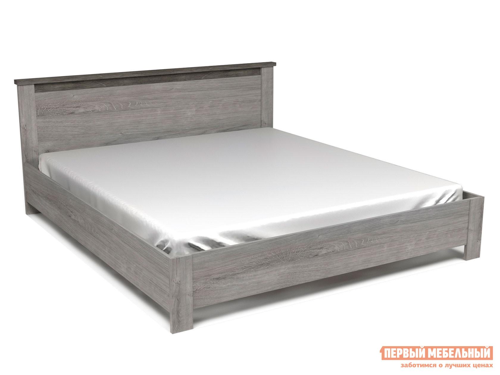 Двуспальная кровать  Кровать Денвер Риббек серый / Камень темный, 1800 Х 2000 мм, С основанием, Без подъемного механизма