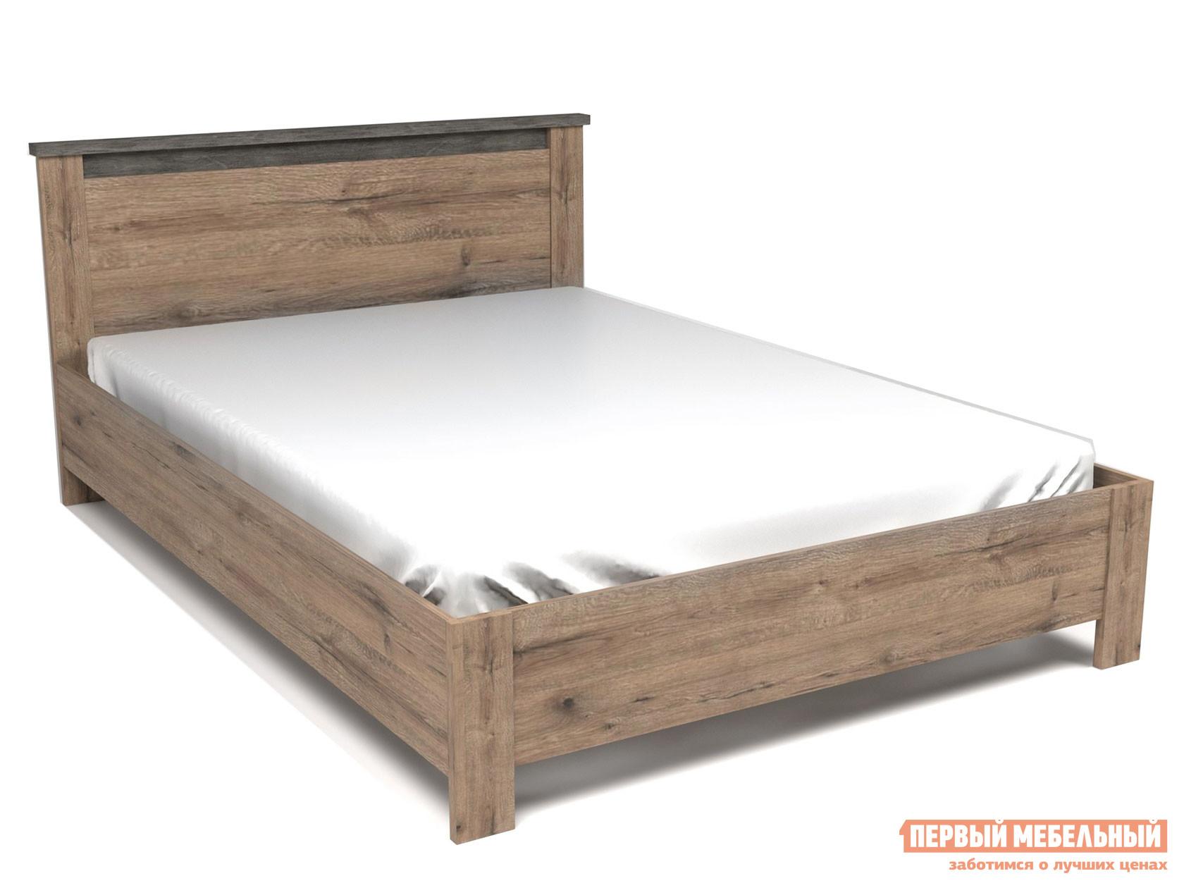 Двуспальная кровать  Кровать Денвер Дуб веллингтон / Камень темный, 1400 Х 2000 мм, С основанием, Без подъемного механизма