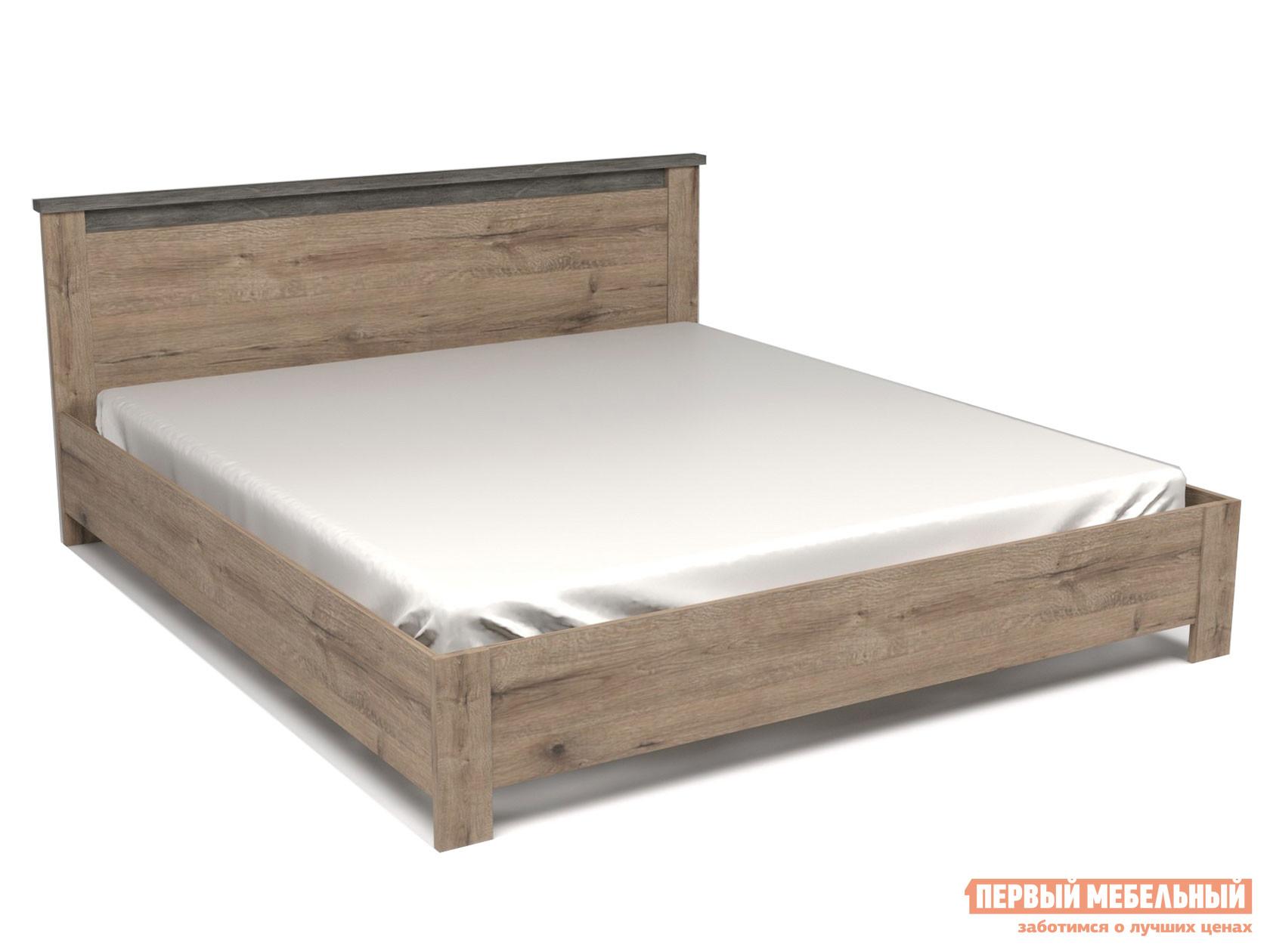 Двуспальная кровать  Кровать Денвер Дуб веллингтон / Камень темный, 1800 Х 2000 мм, Без основания, Без подъемного механизма