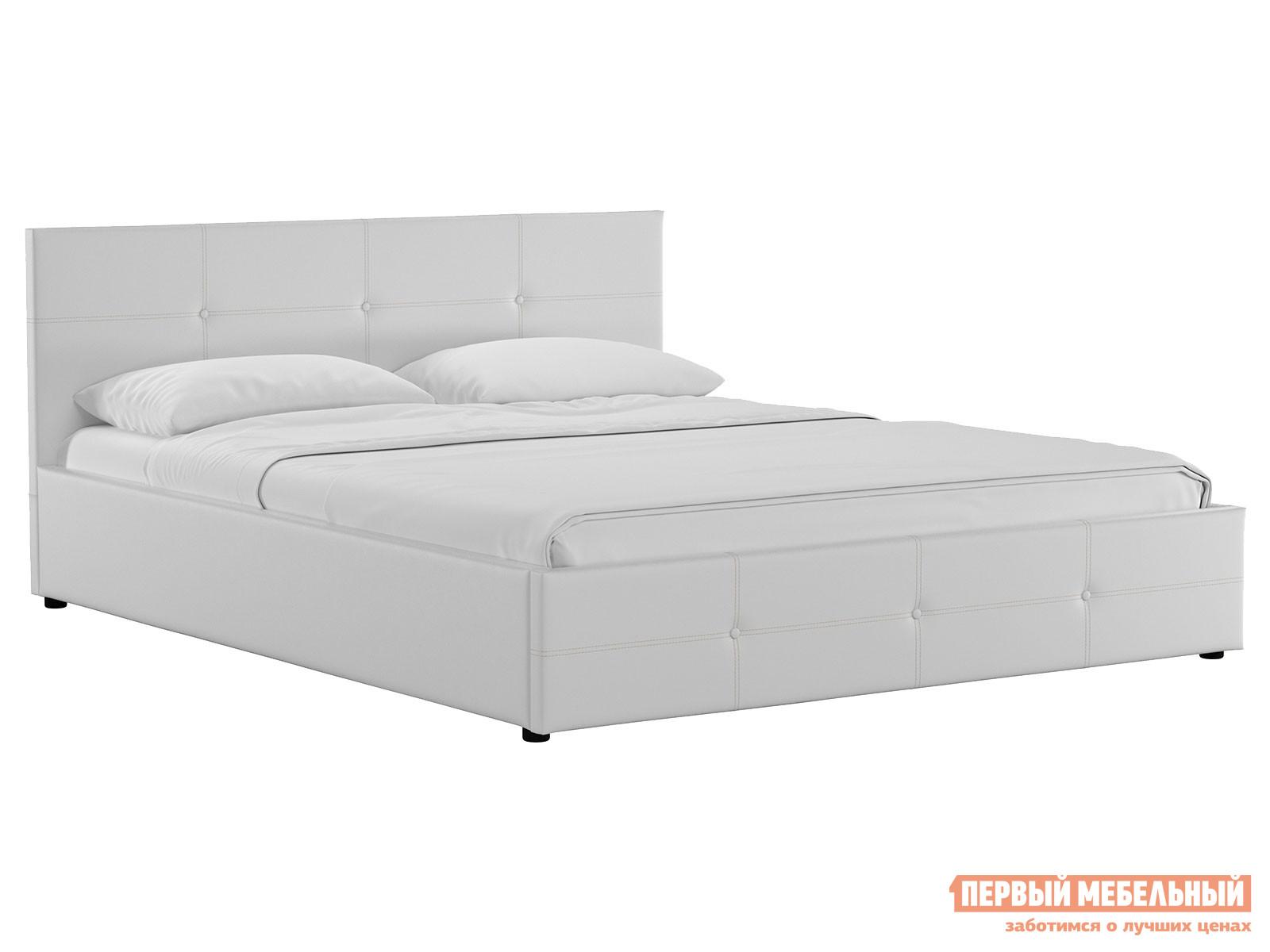 Двуспальная кровать  Кровать Синди с подъемным механизмом 160х200 Белый, экокожа — Кровать Синди с подъемным механизмом 160х200 Белый, экокожа