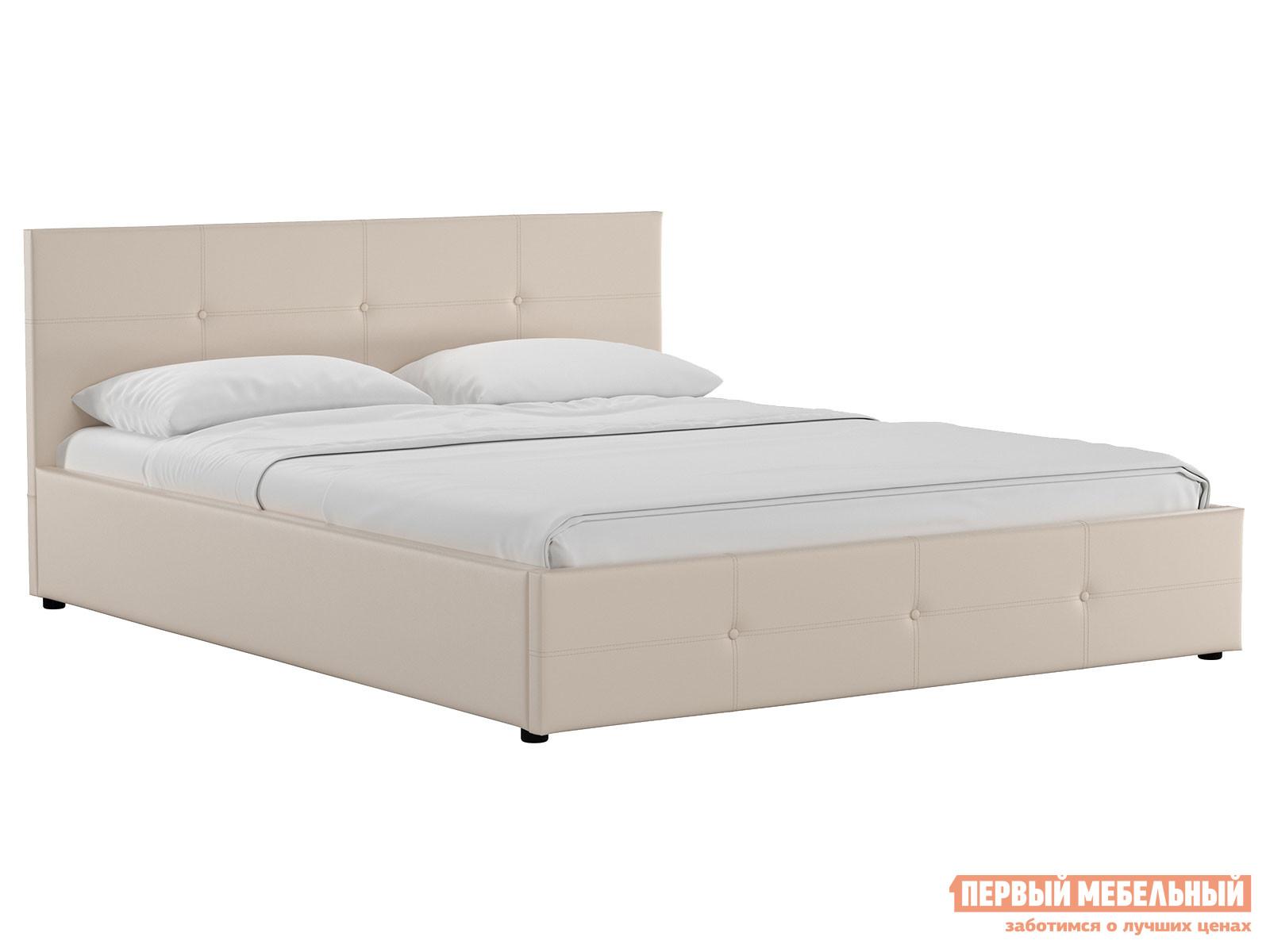 Двуспальная кровать  Кровать Синди с подъемным механизмом 160х200 Бежевый, экокожа — Кровать Синди с подъемным механизмом 160х200 Бежевый, экокожа