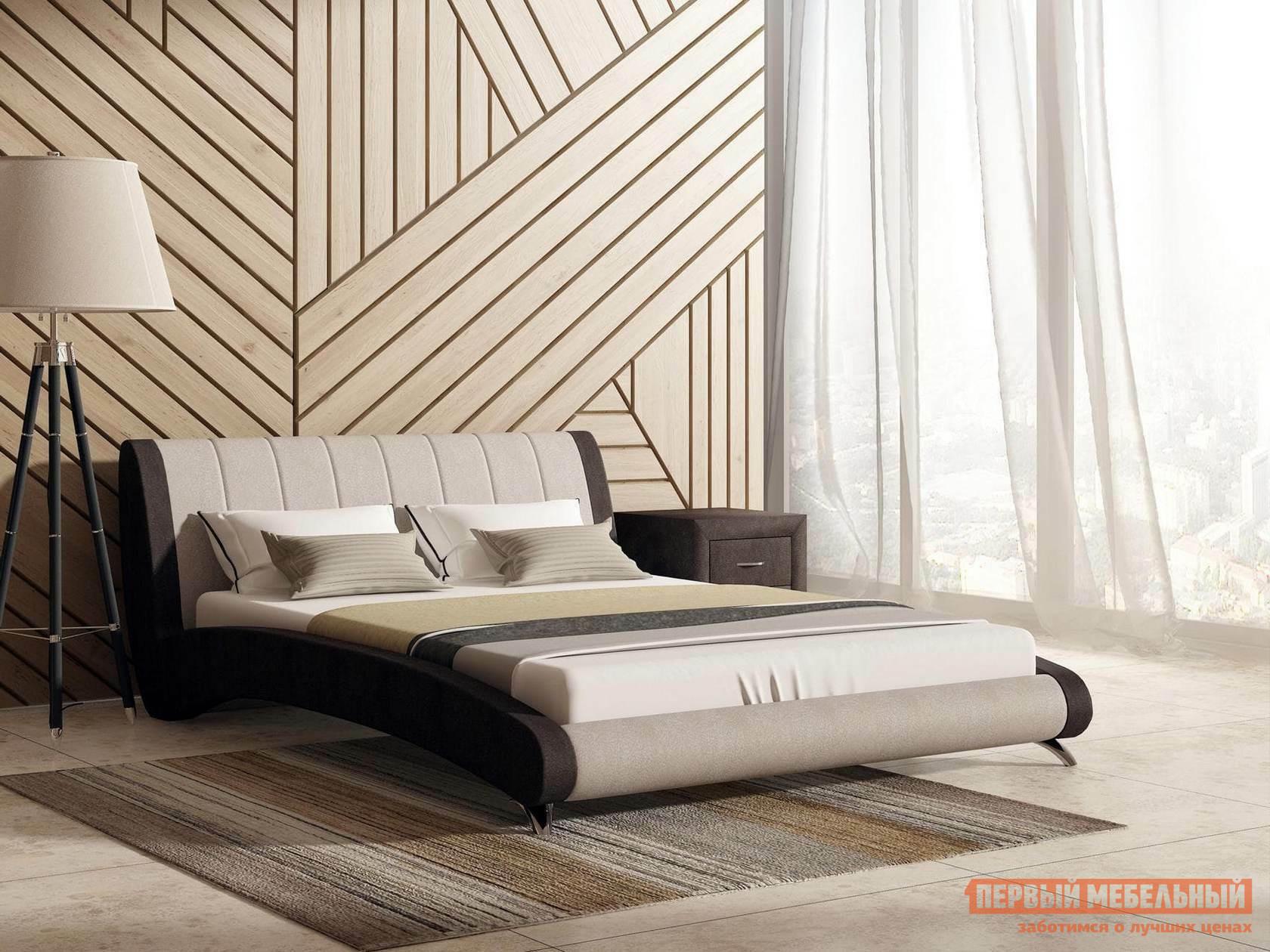 Двуспальная кровать  Кровать Валери с ортопедическим основанием Бежевый / Коричневый велюр, 1600 Х 2000 мм