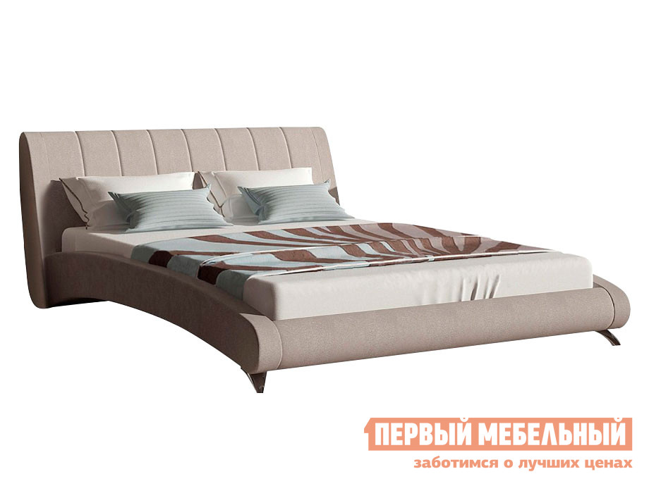 Двуспальная кровать  Кровать Валери Бежевый, велюр, 2000 Х 2000 мм