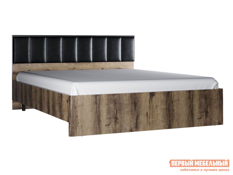 Двуспальная кровать  Кровать Джагер с мягким изголовьем 160х200 Дуб монастырский / Черная экокожа