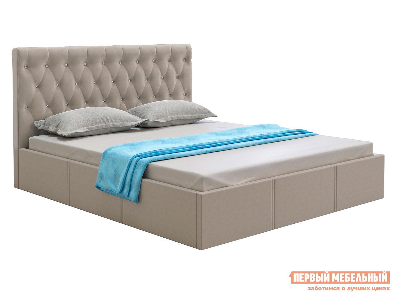 Двуспальная кровать  Кровать с подъемным механизмом Женева Бежевый, велюр, 1600 Х 2000 мм