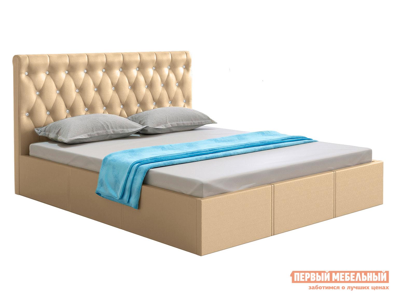 Двуспальная кровать  Кровать с подъемным механизмом Женева Бежевый, экокожа, 1400 Х 2000 мм