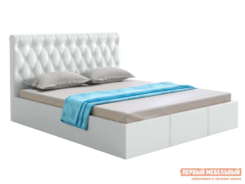 Двуспальная кровать  Кровать с подъемным механизмом Женева Белый, экокожа, 1600 Х 2000 мм