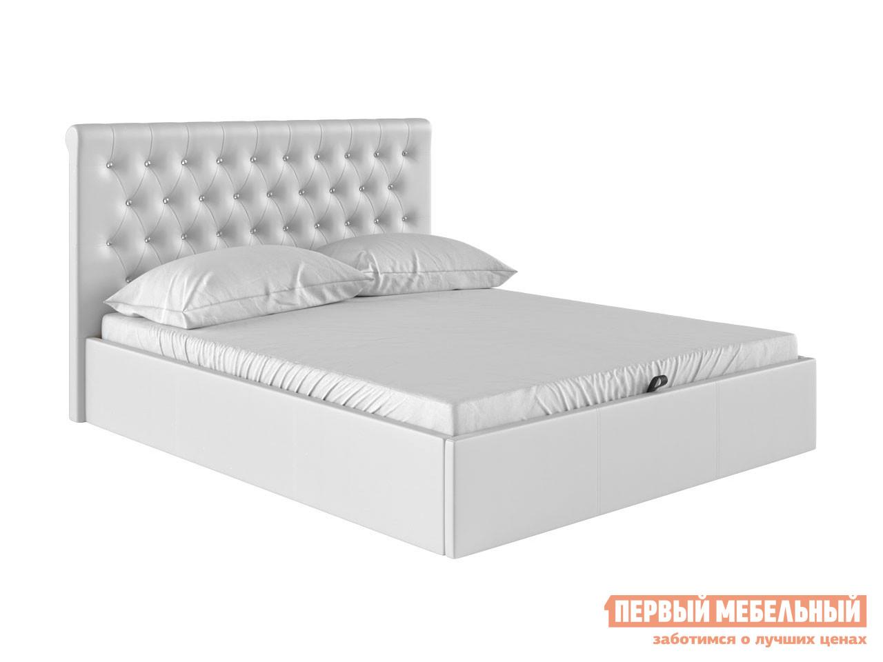 Двуспальная кровать  Кровать с подъемным механизмом Женева Белый, экокожа , 1400 Х 2000 мм — Кровать с подъемным механизмом Женева Белый, экокожа , 1400 Х 2000 мм