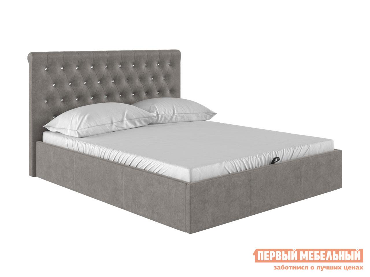 Двуспальная кровать  Кровать с подъемным механизмом Женева Серый велюр, 1600 Х 2000 мм — Кровать с подъемным механизмом Женева Серый велюр, 1600 Х 2000 мм