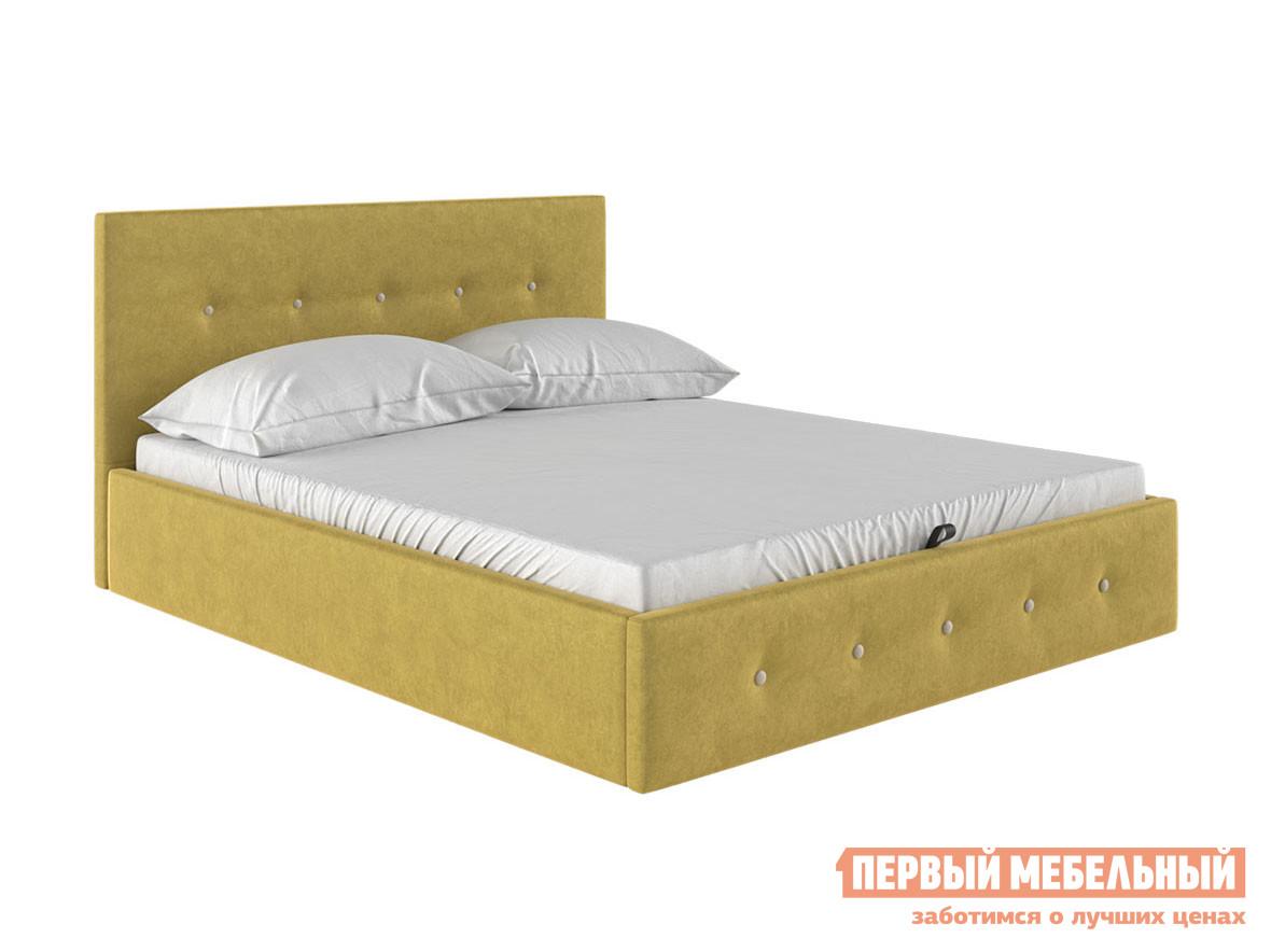 Двуспальная кровать  Колумбия ПМ Горчичный / Бежевый велюр, 1400 Х 2000 мм Первый Мебельный 98749