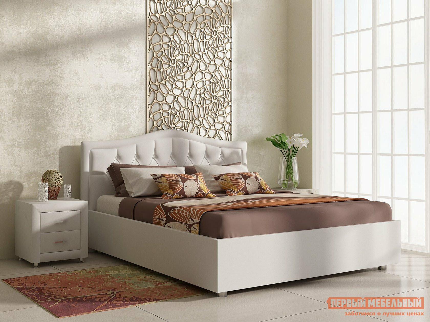 Двуспальная кровать  Кровать Анкона с ортопедическим основанием Белый (экокожа), 2000 Х 2000 мм, С подъемным механизмом