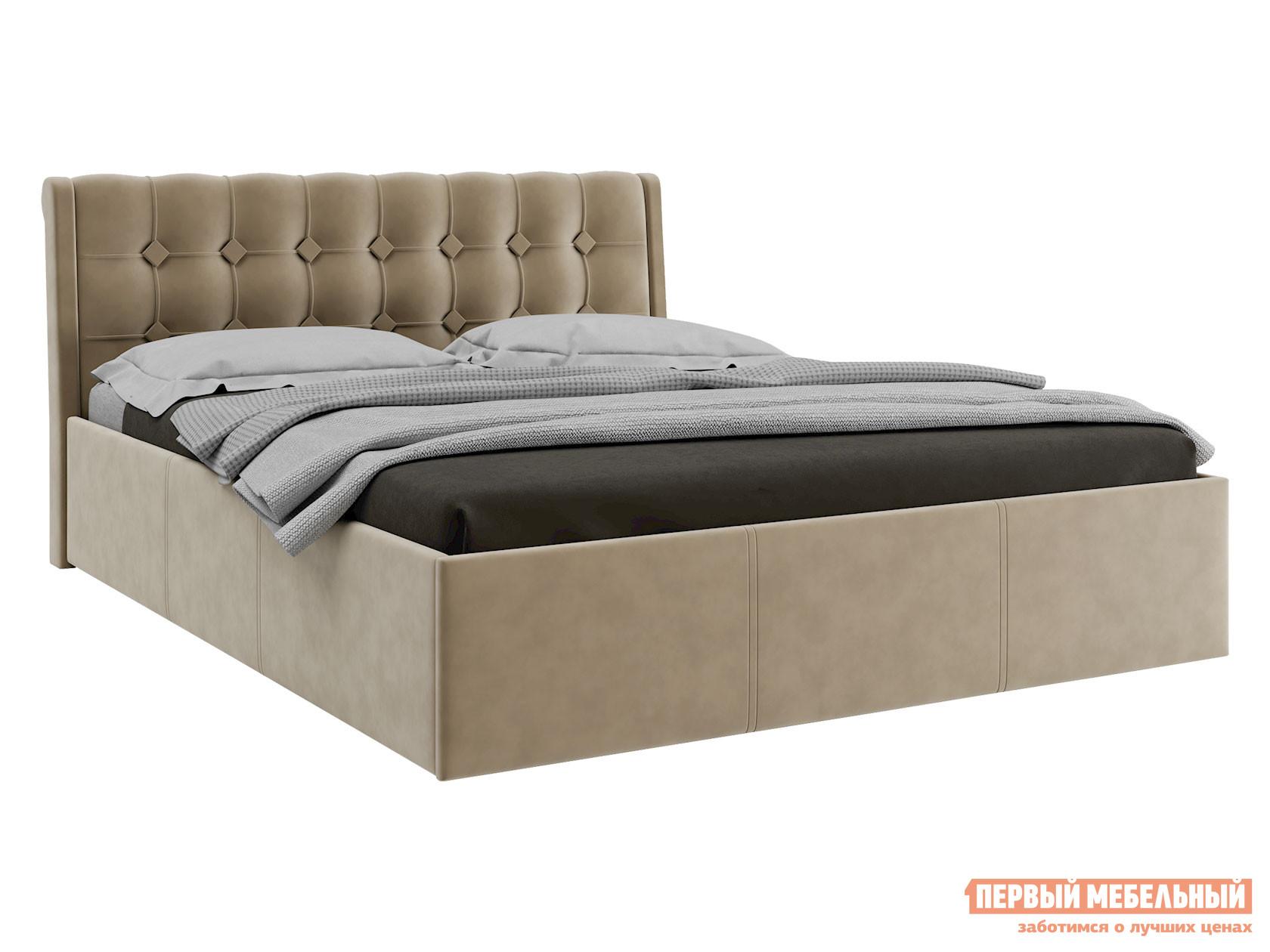 Двуспальная кровать  Кровать с подъемным механизмом Эдем Бежевый, вельвет, 1600 Х 2000 мм