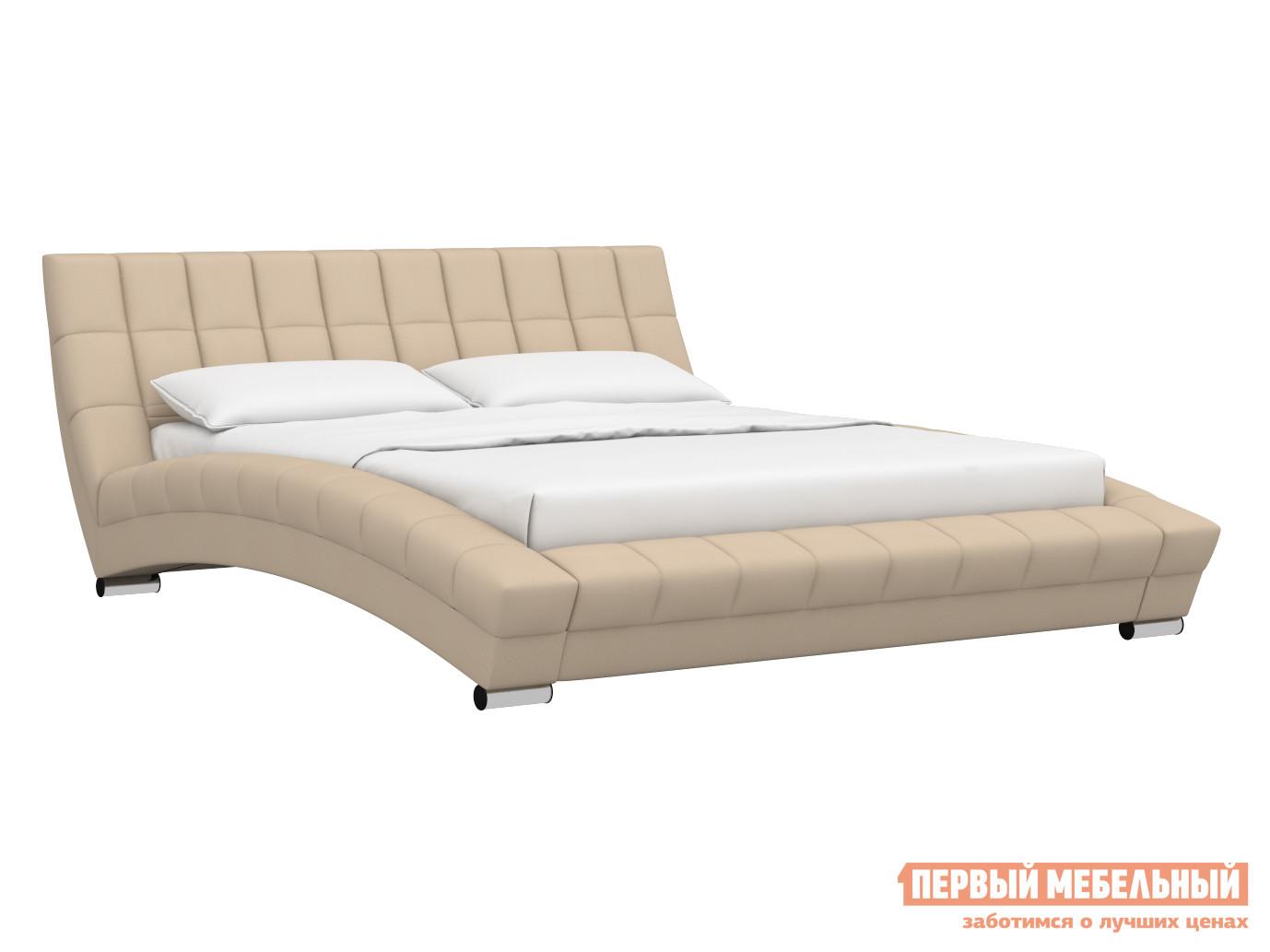 Двуспальная кровать  Кровать Оливия 160х200 Бежевый, экокожа — Кровать Оливия 160х200 Бежевый, экокожа