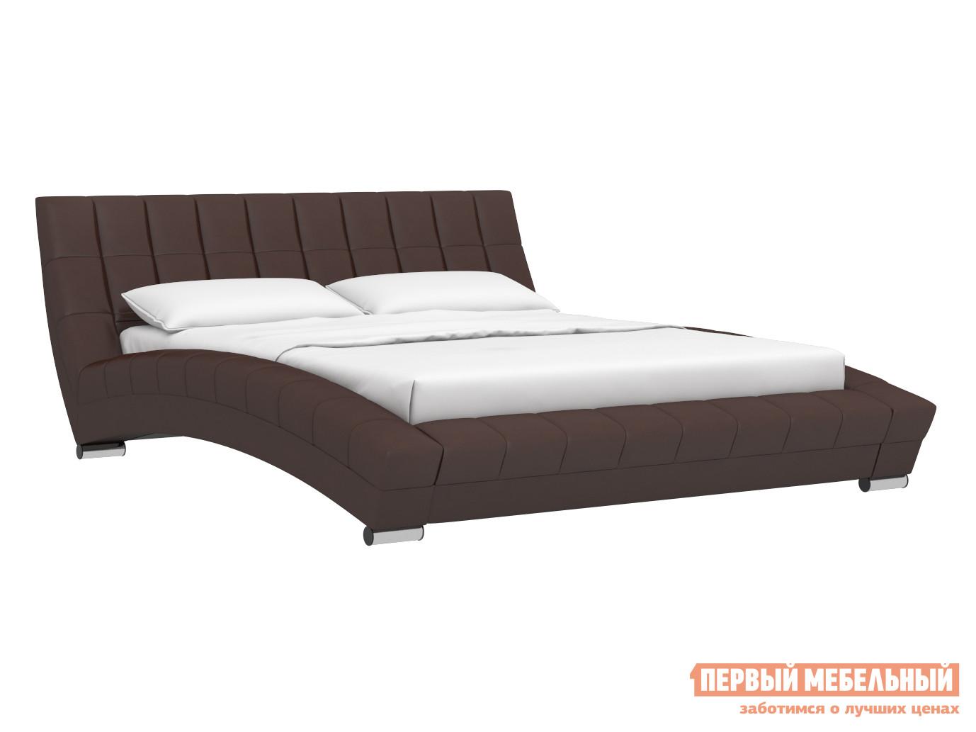 Двуспальная кровать  Кровать Оливия 160х200 Темно-коричневый, экокожа — Кровать Оливия 160х200 Темно-коричневый, экокожа