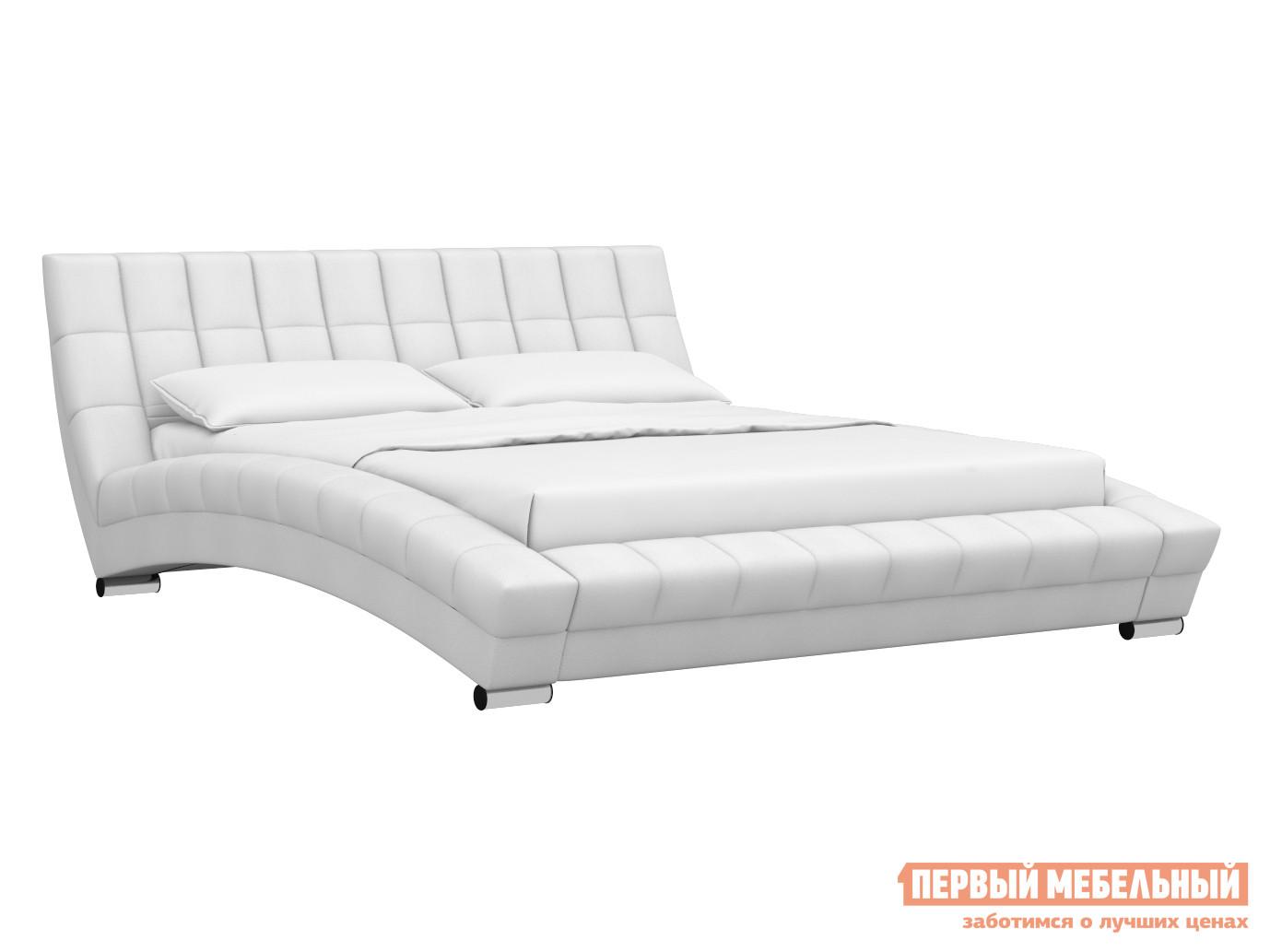 Двуспальная кровать  Кровать Оливия Белый, экокожа, 1800 Х 2000 мм