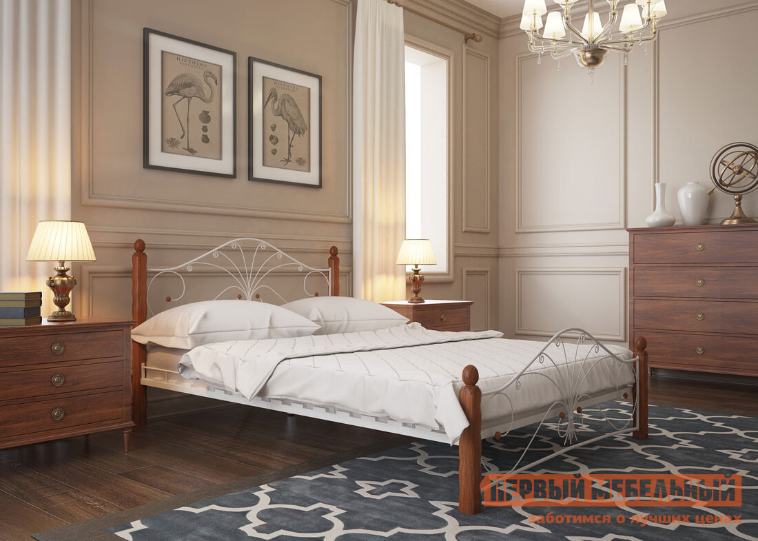 Двуспальная кровать ПМ: Форвард-мебель Сандра 140х200 / 160х200 Белый/махагон, 1600 Х 2000 мм