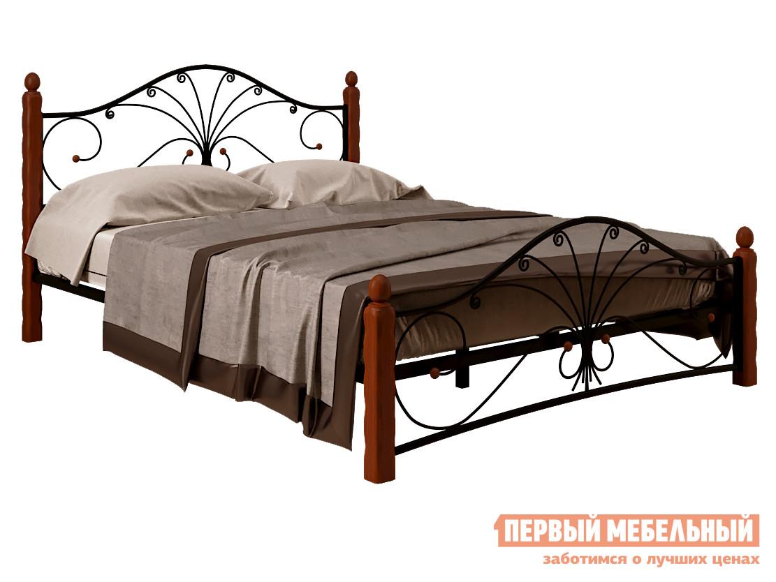 Двуспальная кровать  Кровать Сандра Черный металл / Махагон массив, 1400 Х 2000 мм