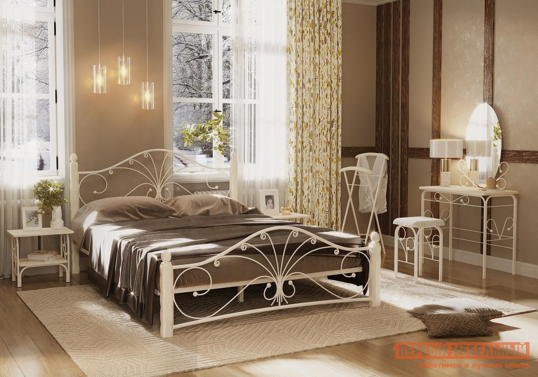 Двуспальная кровать  Кровать Сандра Кремовый металл / Белый массив, 1400 Х 2000 мм