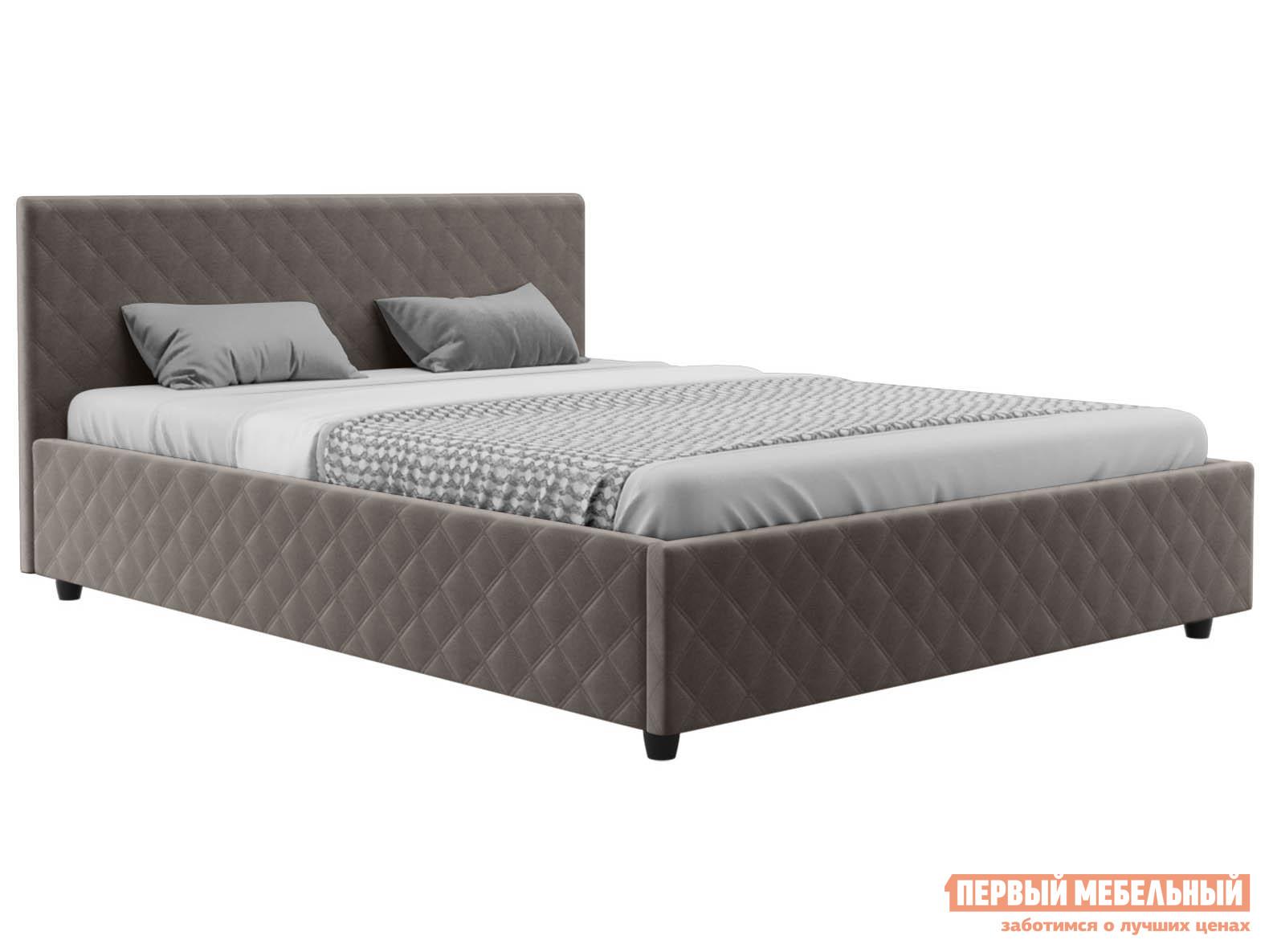 Двуспальная кровать  Франк ПМ Графит, велюр, 160х200 см