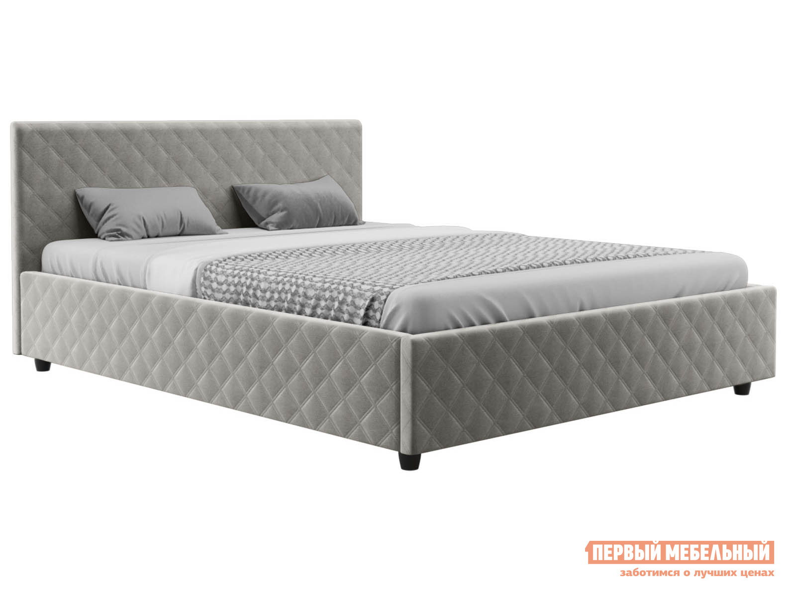 Двуспальная кровать  Франк ПМ Серый, велюр, 180х200 см