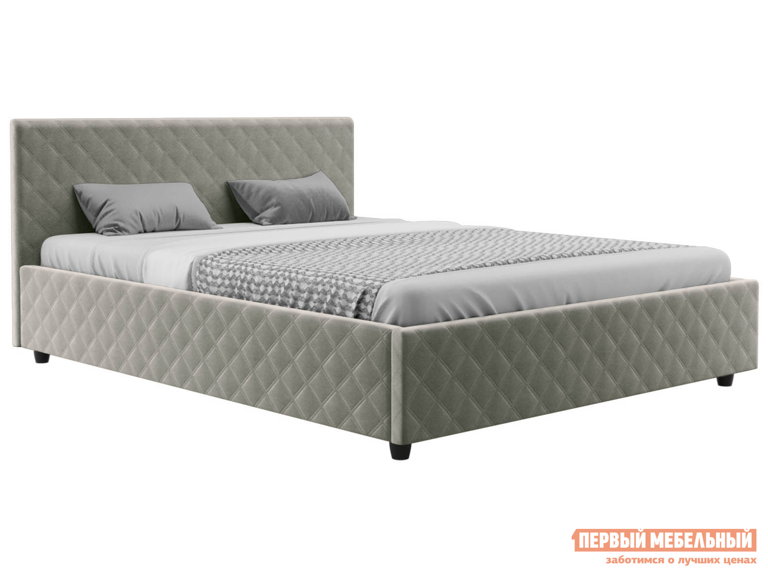 Двуспальная кровать  Франк ПМ Бежевый, велюр, 180х200 см