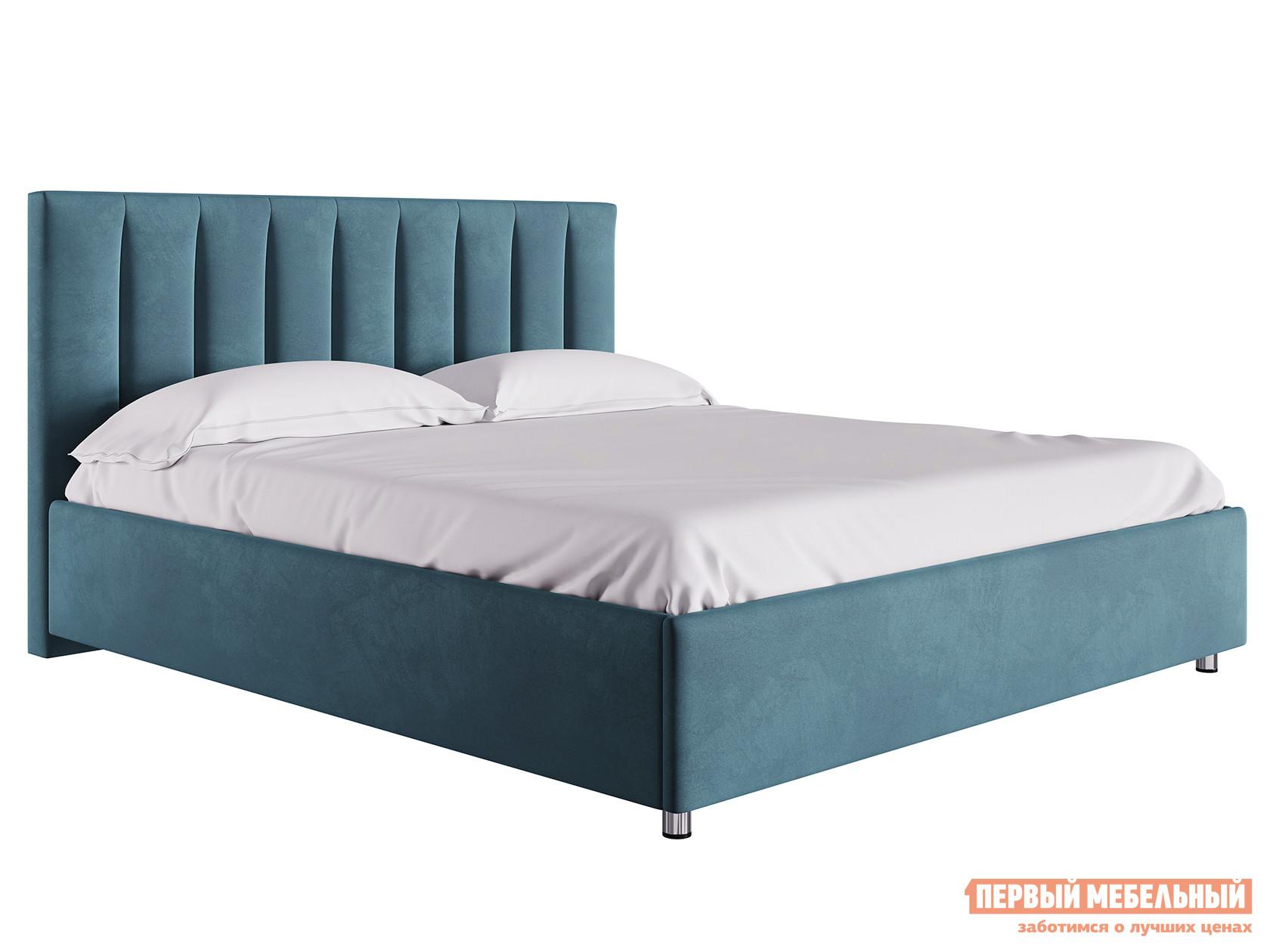 Двуспальная кровать  Кровать с подъемным механизмом Кармэн Синий, микровелюр, 1800 Х 2000 мм