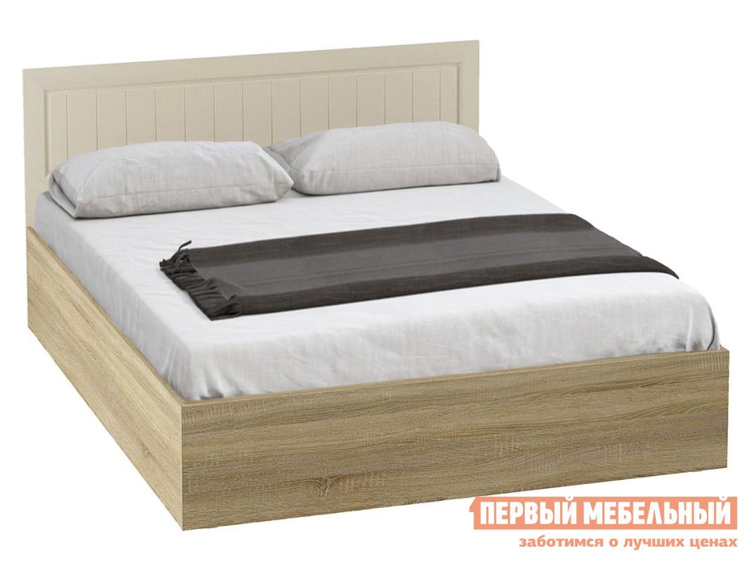 Двуспальная кровать  Маркиза Кровать КР-02 Дуб Сонома / Крем Сатин, С основанием настил