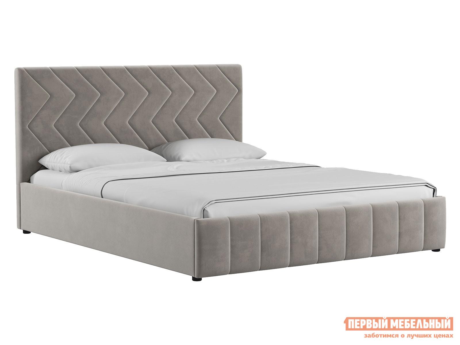 Двуспальная кровать  Кровать Милана с подъемным механизмом 160х200 Светлый кварцевый серый, велюр