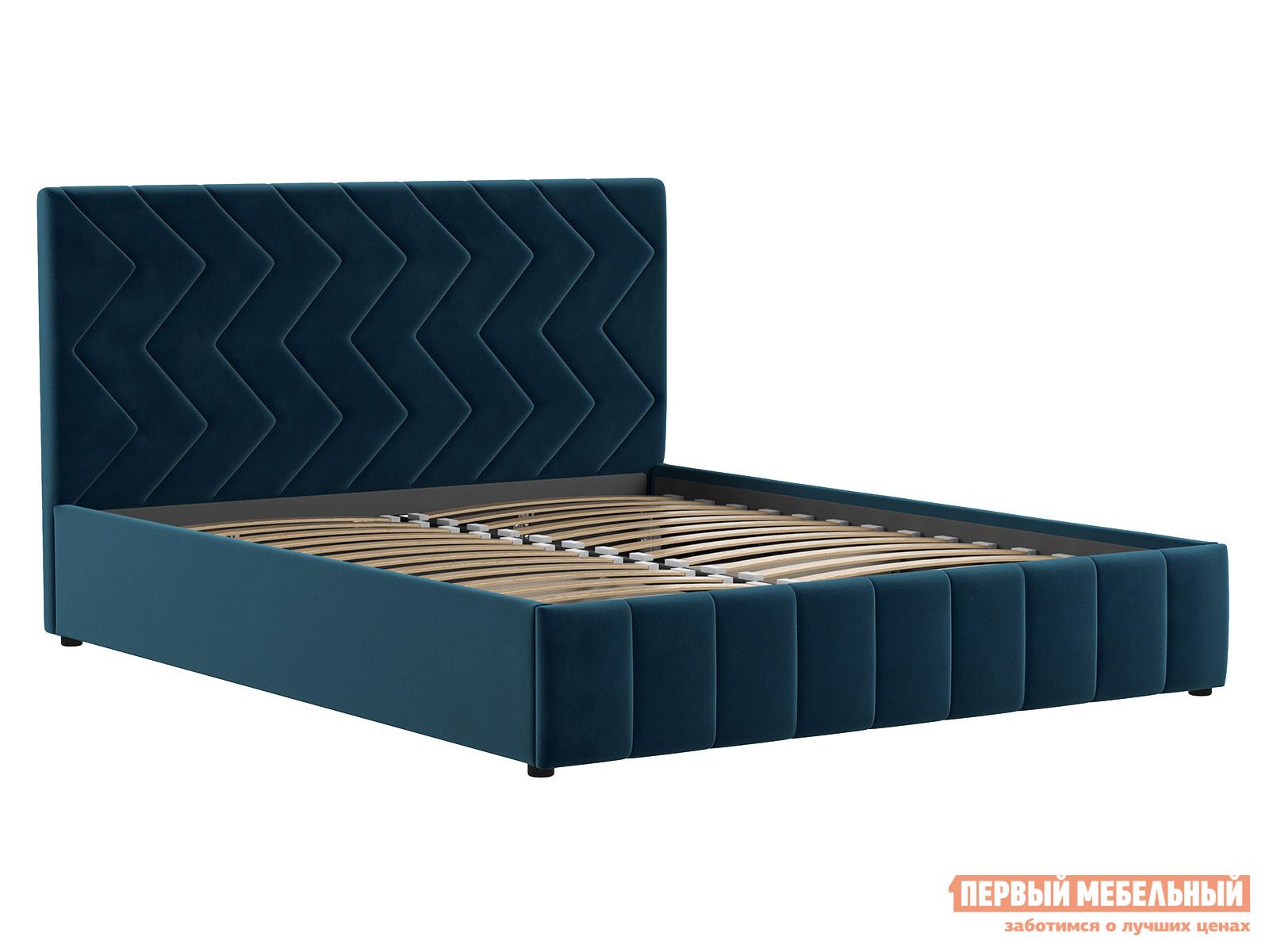 Двуспальная кровать  Кровать Милана с подъемным механизмом 160х200 Полуночно-синий, велюр