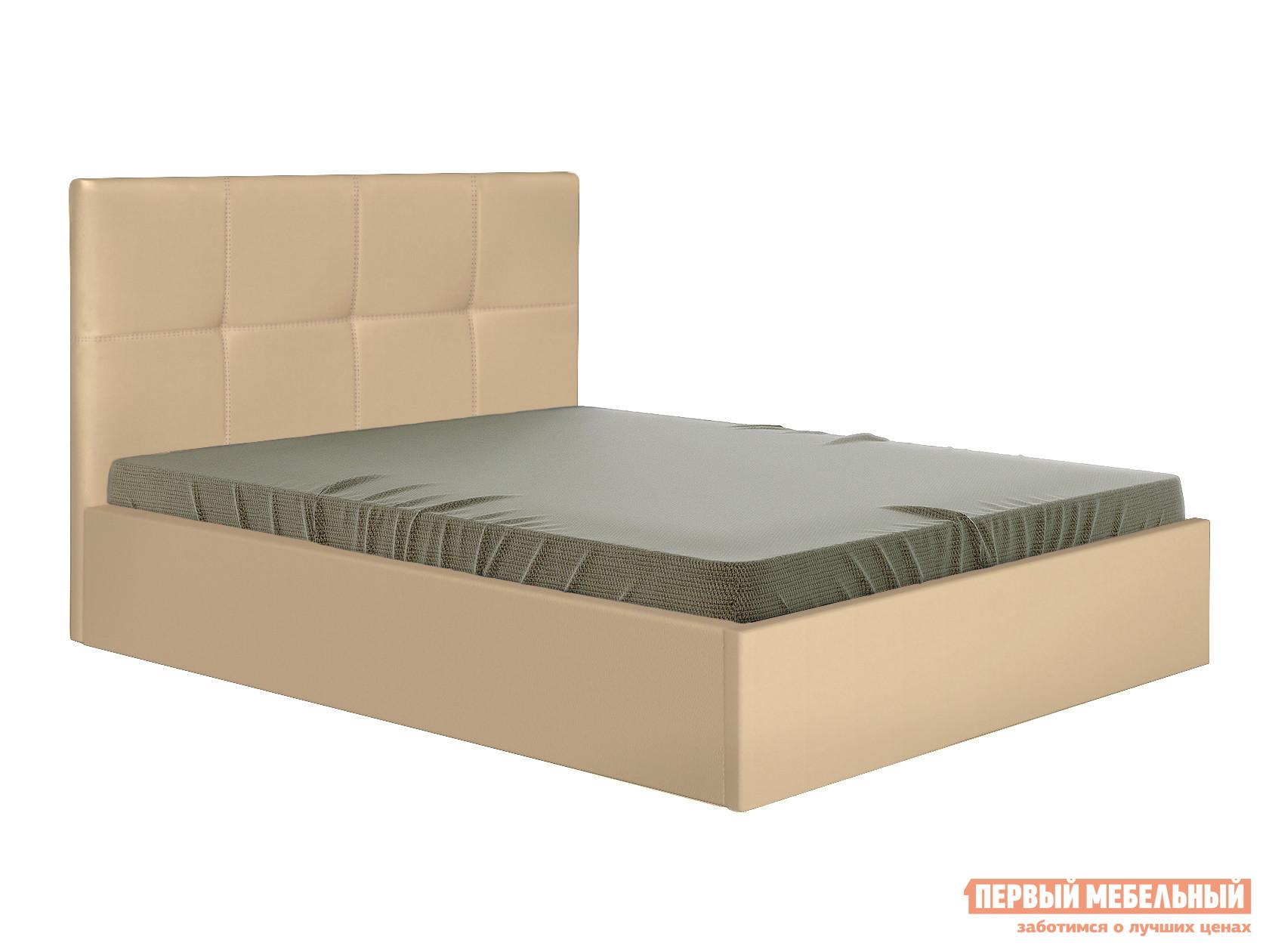 Двуспальная кровать  Верда Бежевый, экокожа, 140х200 см