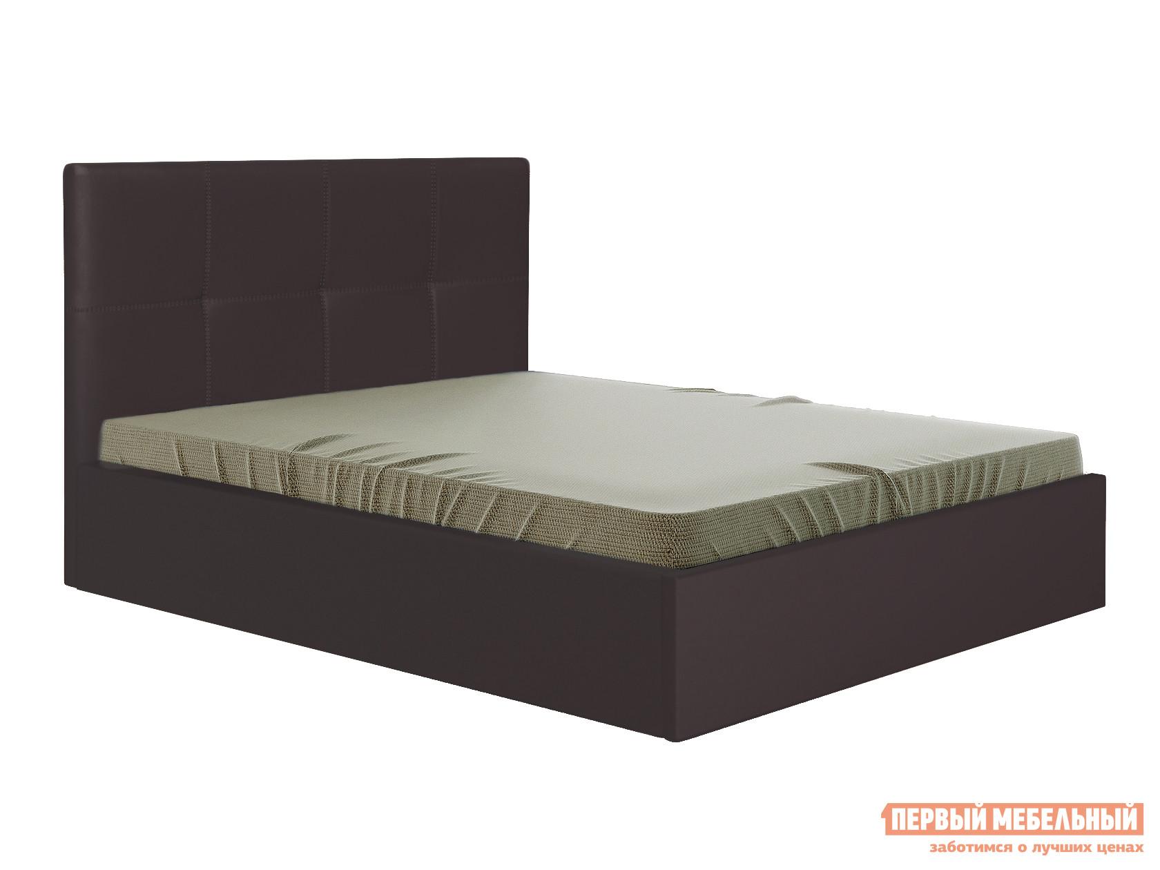 Двуспальная кровать  Верда Коричневый, экокожа , 140х200 см