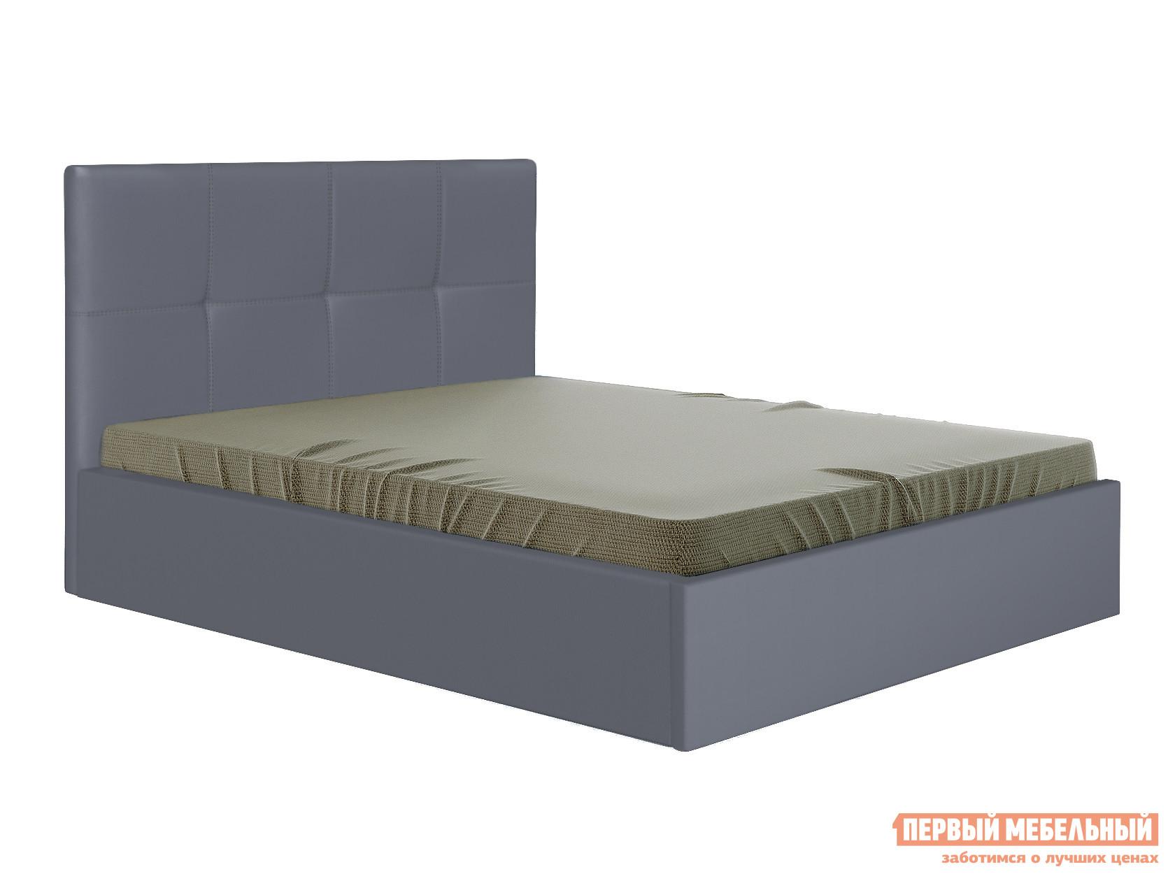 Двуспальная кровать  Верда 160х200 см, Серый, экокожа