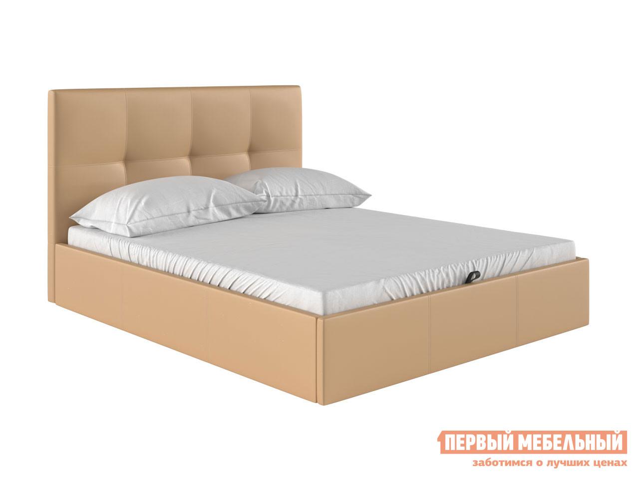 Двуспальная кровать  Верда Бежевый, экокожа, 160х200 см Первый Мебельный 83835
