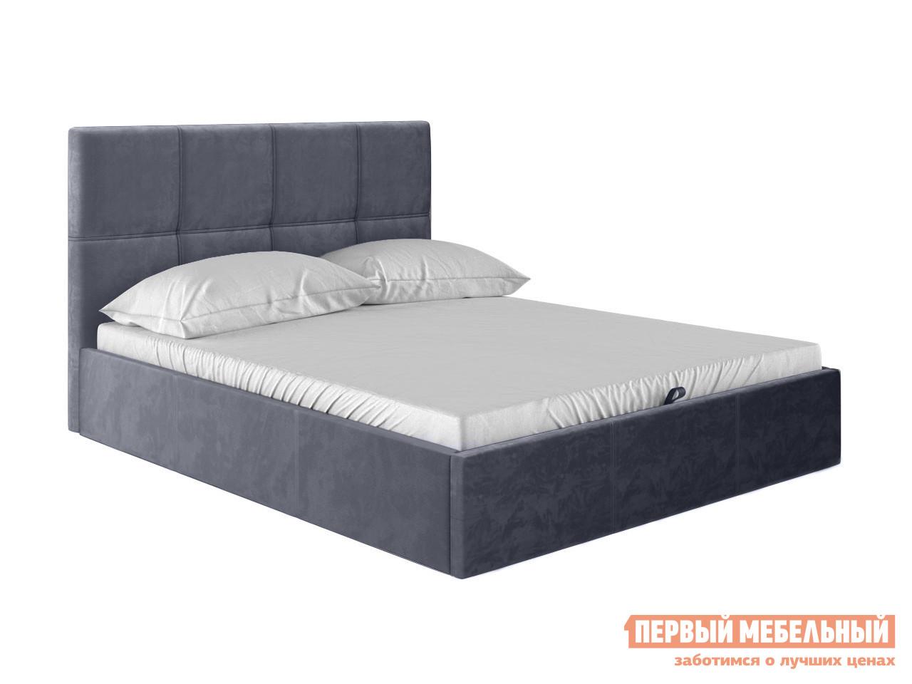Двуспальная кровать  Верда Серый, велюр, 160х200 см