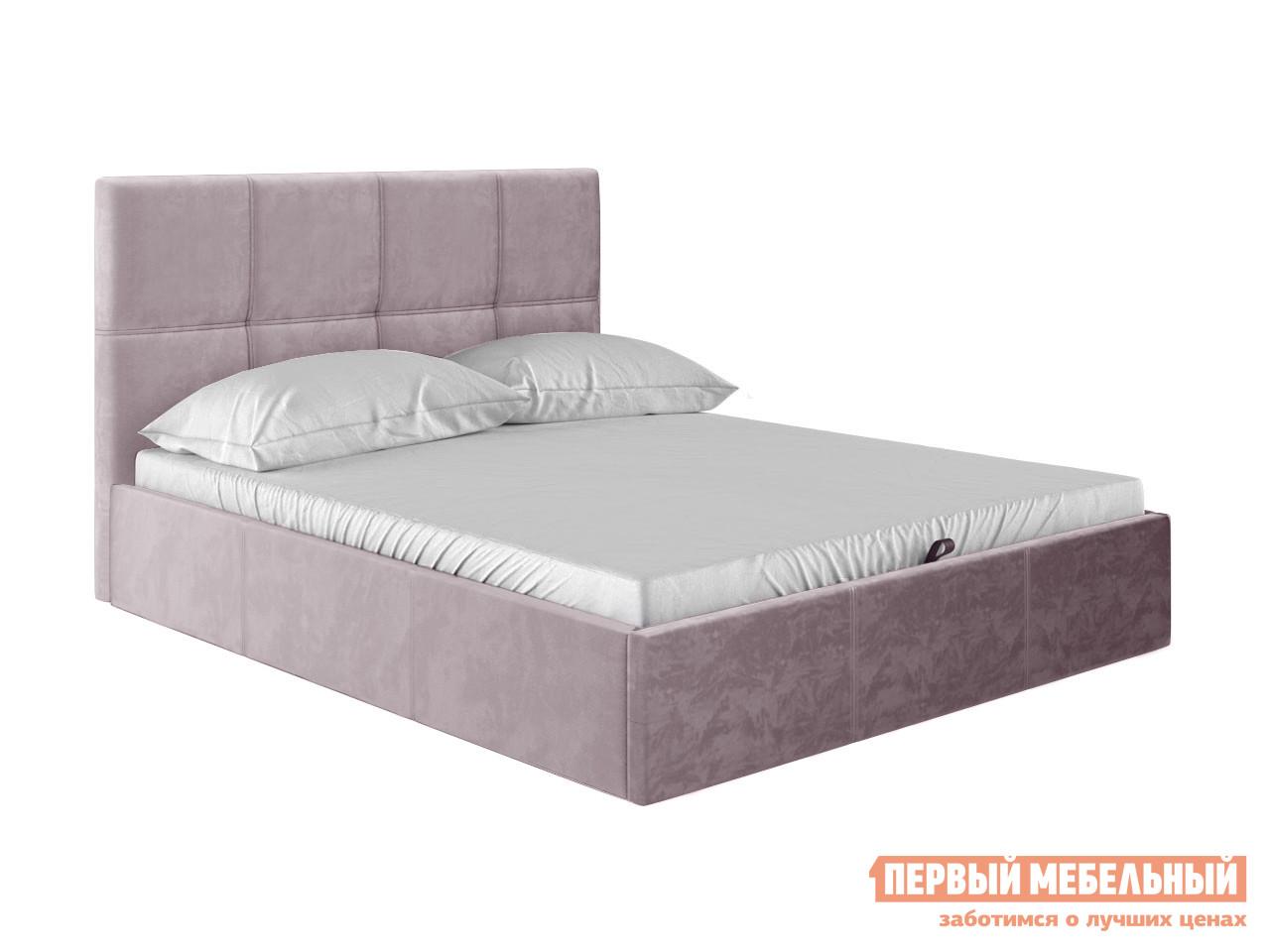 Двуспальная кровать  Верда Розовый, велюр, 140х200 см
