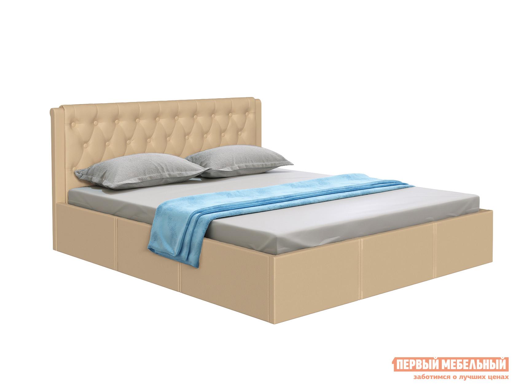 Двуспальная кровать  Кровать с подъемным механизмом Моника Бежевый, экокожа, 1400 Х 2000 мм