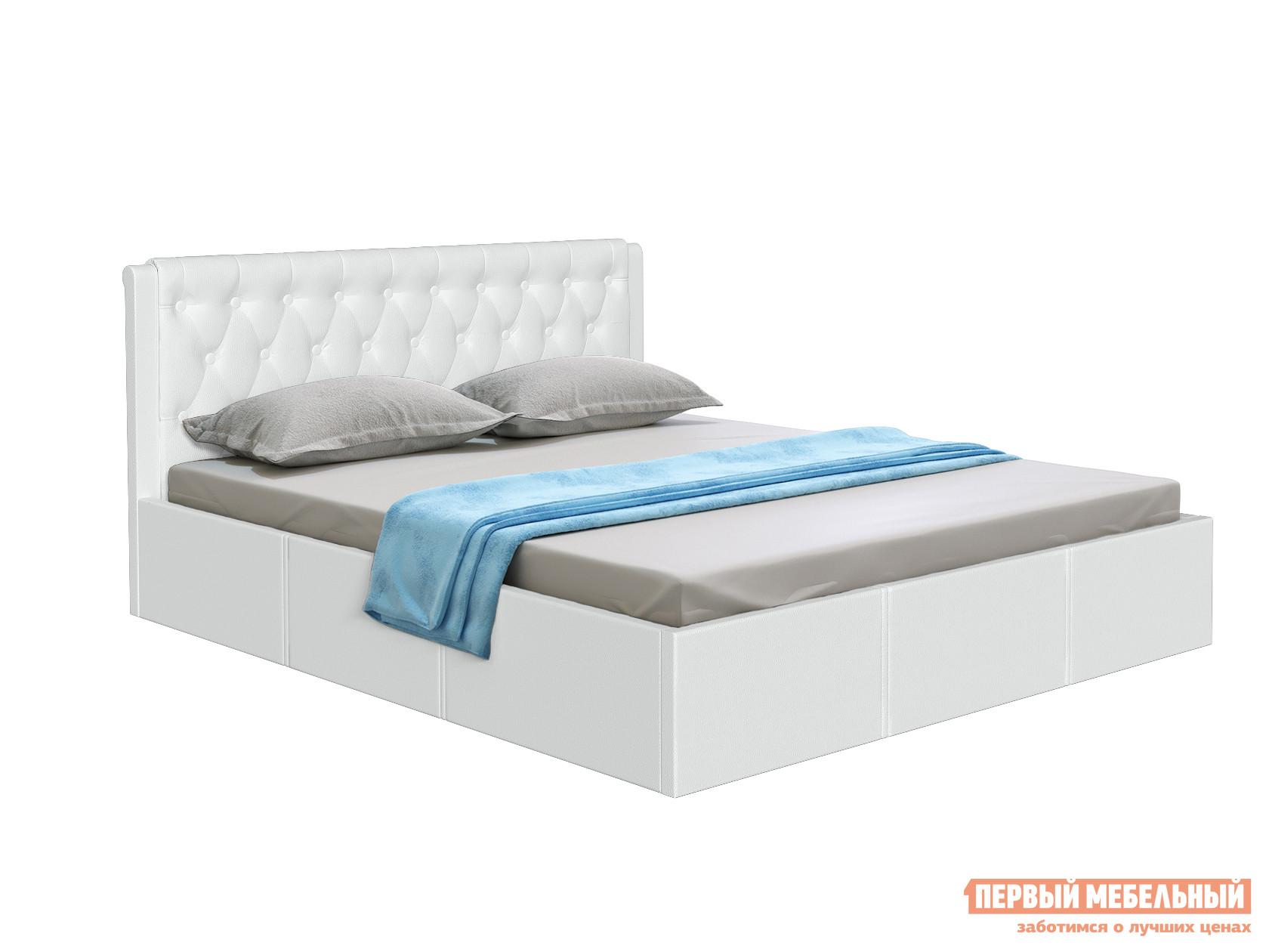 Двуспальная кровать  Кровать с подъемным механизмом Моника Белый, экокожа, 1800 Х 2000 мм