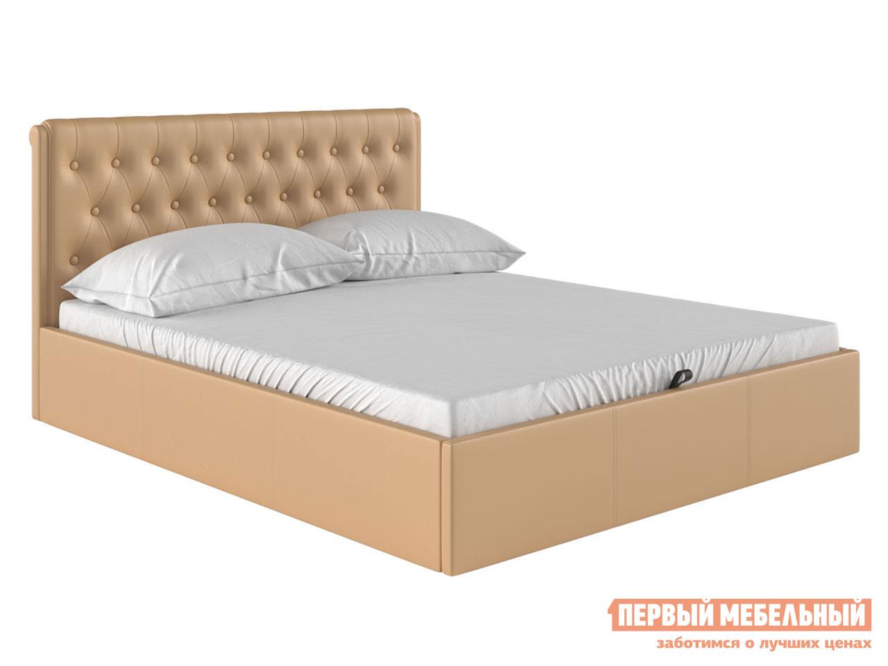 Двуспальная кровать  Кровать с подъемным механизмом Моника Бежевый, экокожа, 1400 Х 2000 мм — Кровать с подъемным механизмом Моника Бежевый, экокожа, 1400 Х 2000 мм