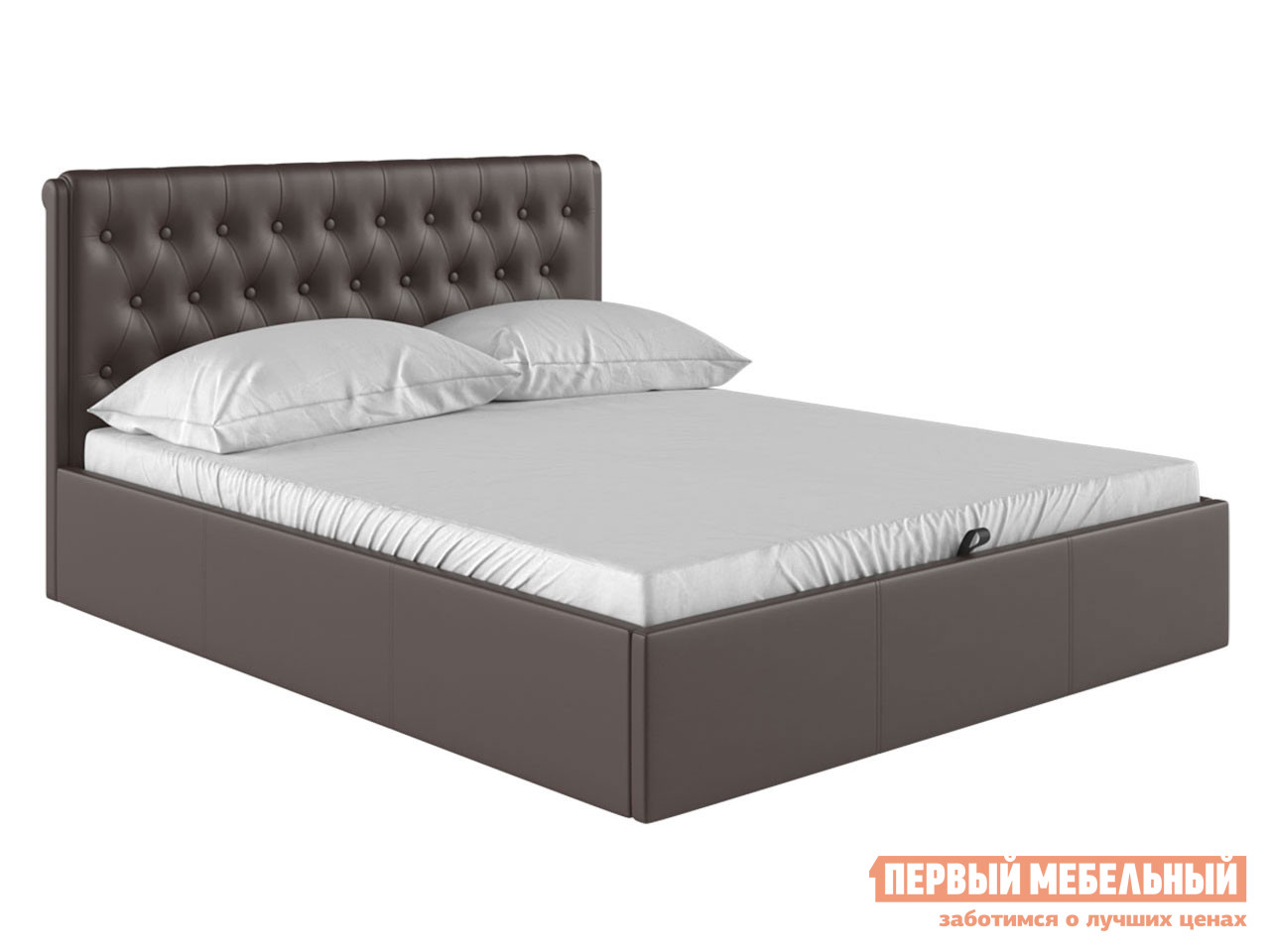 Двуспальная кровать  Кровать с подъемным механизмом Моника Коричневый экокожа, 1600 Х 2000 мм — Кровать с подъемным механизмом Моника Коричневый экокожа, 1600 Х 2000 мм