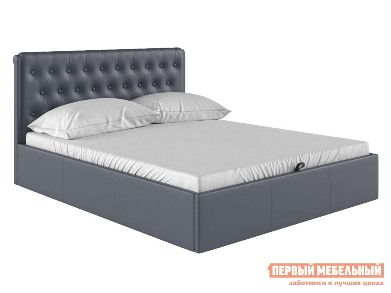 Двуспальная кровать  Кровать с подъемным механизмом Моника Серый, экокожа, 1600 Х 2000 мм — Кровать с подъемным механизмом Моника Серый, экокожа, 1600 Х 2000 мм