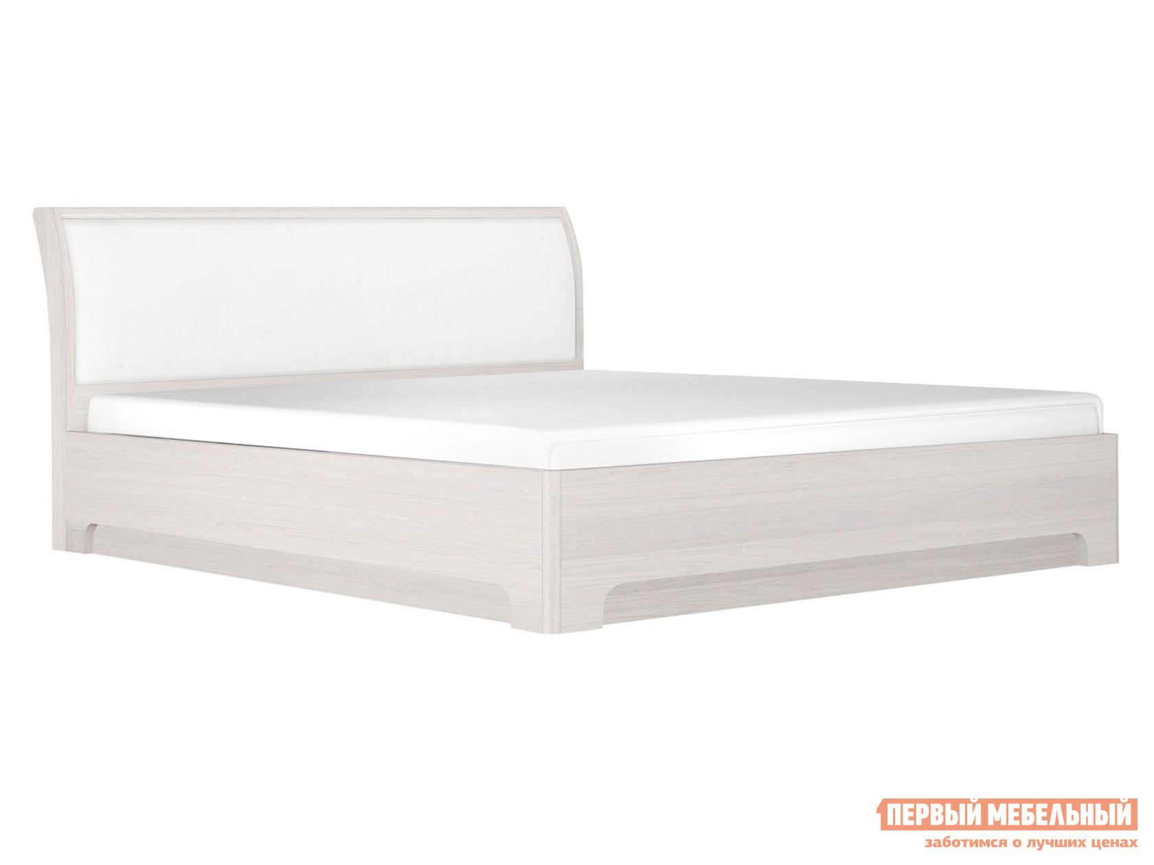 Двуспальная кровать  Кровать Парма Нео 3 Ясень анкор светлый / Экокожа белая, 1600 Х 2000 мм, С подъемным механизмом