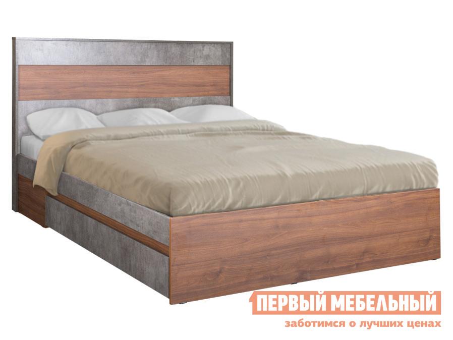Двуспальная кровать  Кровать Леон 160х200 Орех каминный / Камень темный