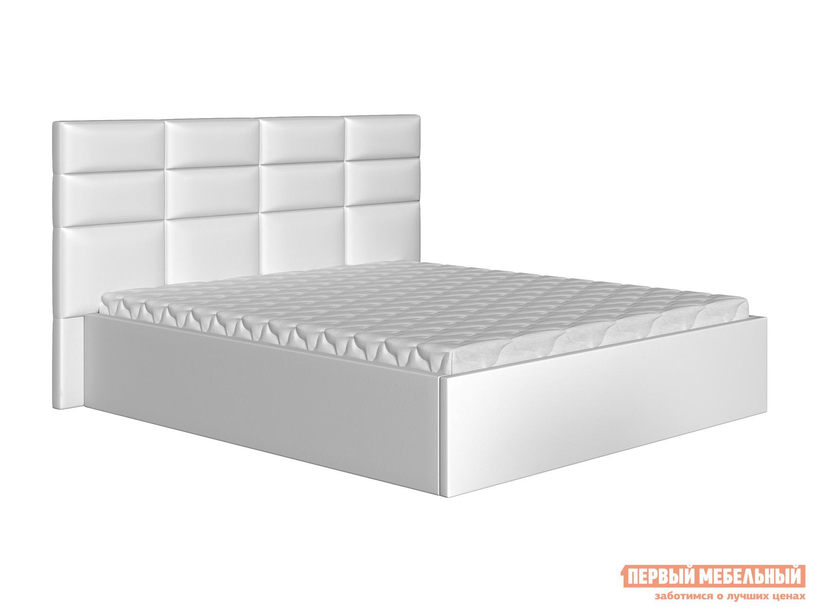 Двуспальная кровать  Кровать Коста Белый, экокожа, 160х200