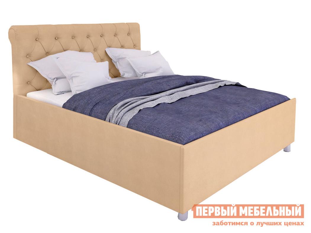 Двуспальная кровать  Кровать с подъемным механизмом Офелия Бежевый, экокожа, 1400 Х 2000 мм