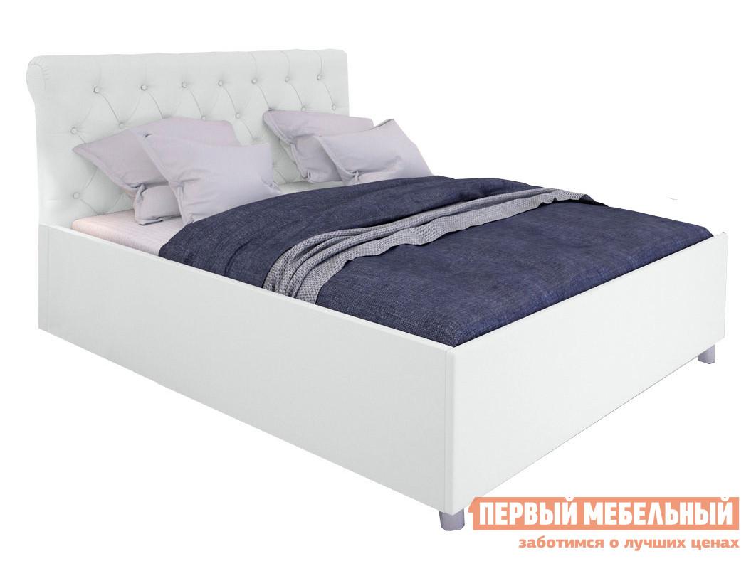 Двуспальная кровать  Кровать с подъемным механизмом Офелия Белый, экокожа, 1600 Х 2000 мм