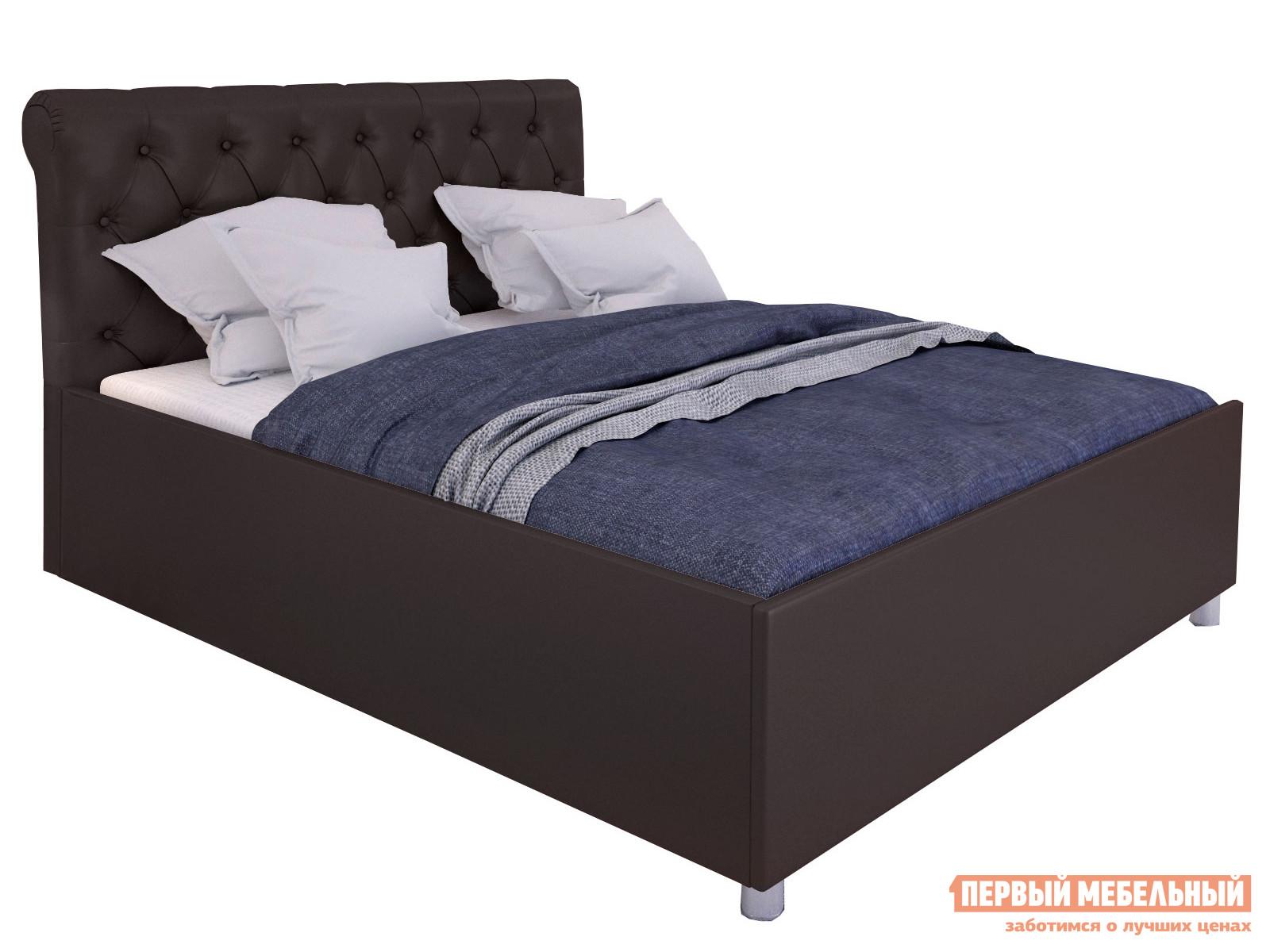 Двуспальная кровать  Кровать с подъемным механизмом Офелия Коричневый, экокожа , 1400 Х 2000 мм